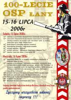 Plakat imprezy 100 lecia OSP Łany